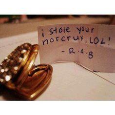 "Name cards ""Dear _______, I stole your Horcrux."""