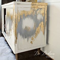 Gold leaf furniture makeover Mid Century Modern with an artist twist! is part of Gold painting Furniture - Mid century modern gold leaf furniture with an artist flare Metallics finishes are all the rage and are so simple to create
