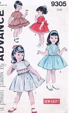 60s ADORABLE Little Girls Dress Pattern ADVANCE 9305 Childrens Day or Party Dress 4 Styles Size 6 Vintage Sewing Pattern