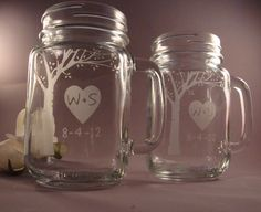 Blooming Tree Wine Glass Mason Mugs for the Bride and Groom. $26.95, via Etsy.