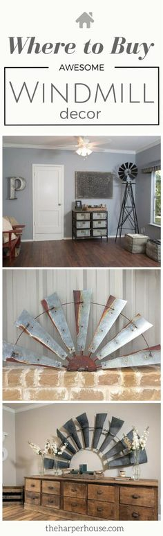 [orginial_title] – Jessica Garrett Fixer Upper Windmill Decor This is awesome! I've always wondered where to buy Fixer Upper windmill decor just like Joanna Gaines uses in her designs! Vintage Interior Design, Vintage Home Decor, Diy Home Decor, Vintage Interiors, Vintage Style, Magnolia Farms, Magnolia Homes, Rustic Farmhouse Decor, Country Decor