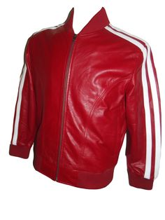 Red Leather Track Jacket Nappa Sheepskin Mens Womens Celebrity Style ( Pharrel Williams )