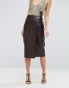 Leather Belted A-Line Wrap Skirt | M&S | beauty fashion ...