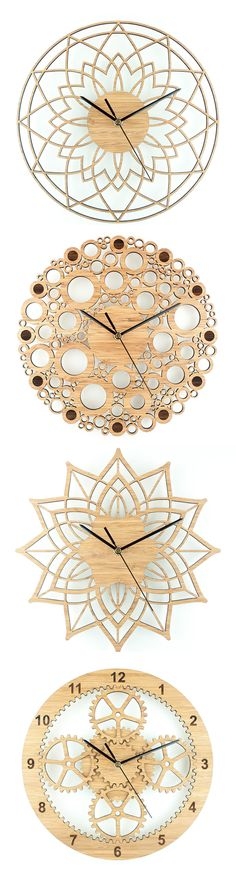 Wall clocks by Beam Designs laser cut from bamboo by lindsay photography - Projects - Dekoration Laser Cutter Ideas, Laser Cutter Projects, Laser Cut Wood, Laser Cutting, Wood Plastic, Gravure Laser, Diy Clock, Wall Clock Decor, Wall Clock Design