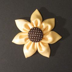 Sunflower Fabric Hair Flower smaller size by alltiedupinbows, $4.50