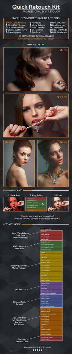 Professional Retouching Actions Kit — Photoshop ATN #photo #action • Available here → https://graphicriver.net/item/professional-retouching-actions-kit/18942258?ref=pxcr