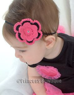 Hot Pink and Black Crochet Flower on Black Bitty Band