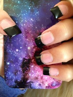 Acrylic Black French Tip <3