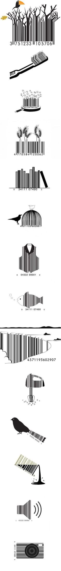 top 14 design of bar codes  So I've never seen bar code art before, but I think it give the concept and figure and ground pretty well.