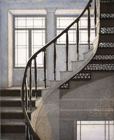 Stairs 2 - aquatint, Elina Luukanen, 2011 How To Draw Stairs, Himmelblau, Art Drawings, Around The Worlds, Windows, Architecture, Illustration, Prints, Visual Arts