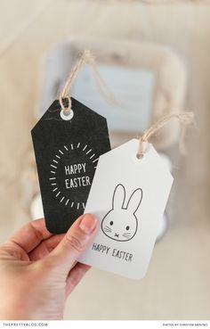 A Nifty Egg Box & Easter Tag DIY Printable - The Pretty Blog.  The bunny would make a great embroidery pattern.