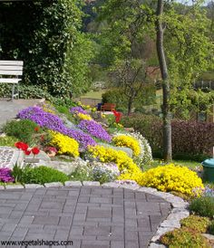 Slope garden with yellow flowers