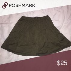 green faux suede brandy Melville circle skirt brand new with tags • flawless • dark army green • one size • price is final Brandy Melville Skirts Mini