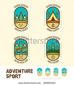 Vector : Sett of Adventure sport logo badges include Mountain Explorer,Summer Camping,Kayak camp,Forest explorer