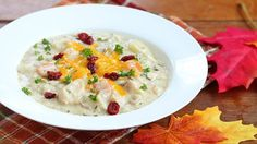 """Slow Cooker Turkey Dinner Soup - This """"hands-off"""" recipe with just 10 minutes of prep time results in a deliciously creamy comfort soup with your favorite Thanksgiving flavors."""