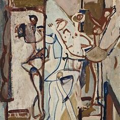 Circus, by Ian Fairweather, Gouache on cardboard, Australian Painting, Australian Artists, Painting Collage, Figure Painting, Mother And Child Painting, Modern Art, Contemporary Art, Paintings Famous, Painter Artist