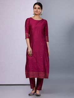 Order contact my whatsapp number 7874133176 Maroon Silk Straight KurtaMaroon Silk Kurta with Pants - Set of Loom- An online Shop for Exclusive Handcrafted products comprising of Apparel, Sarees, Jewelry, Footwears & Home decor. Plain Kurti Designs, Silk Kurti Designs, Kurti Designs Party Wear, Kurta Designs Women, Salwar Designs, Blouse Designs, Kurta With Pants, Silk Pants, Silk Suit