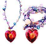 MELLIFLEURS handmade necklace;collana fatta a mano uncinetto materiale vintage,perle di cristallo,ciondolo cuore di Moschino,pezzo unico,Made in Italy