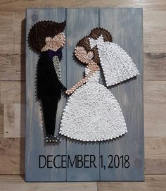 Another one Bride and groom with custom request for bride with brown hair, caramel highlights. Done on grey wash wood.Another one Bride and groom with custom request for bride with brown hair, caramel highlights. Done on grey wash wood. String Art Diy, Wedding String Art, String Crafts, Wedding Art, Wedding Rustic, Hair Wedding, Wedding Nails, Arte Linear, Diy And Crafts