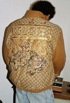 9bd5d960 Gucci Leather Men, Leather Jacket, Hip Hop Fashion, Mens Fashion, Dapper Dan