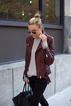 Burgundy Leather-NYC Street Style-Black Denim