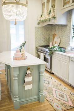 One Room Challenge Colourful Kitchen Reveal - The Leslie Style Kitchen Nook, Kitchen Items, Diy Kitchen, Kitchen Dining, Kitchen Decor, Basic Kitchen, Southern Kitchens, Cottage Kitchens, Blue Kitchen Island