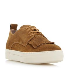 DUNE BLACK LADIES EDDY - Fringe Detail Lace Up Sneaker - tan | Dune Shoes Online Super cute on and extremely comfy!
