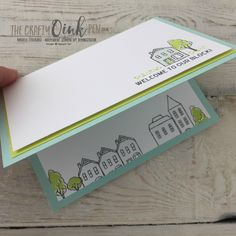 In the City Hostess Set by Stampin' Up! Mikaela Titheridge, UK Independent Stampin' Up! Demonstrator, The Crafty oINK Pen. New Home card for a House Move using my favourite two colours, Pool Party and Lemon Lime Twist. Supplies available through my online store 24/7.