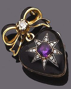 A late 19th century enamel, amethyst and diamond pendant locket The heart shaped locket, its black enamelled hinged cover set with a rose-cut diamond star and a raised mixed-cut amethyst centre, opening to reveal a glazed compartment, the reverse of pierced design, suspended from a black enamel ribbon-bow surmount with a claw-set cushion-shaped diamond centre, French import mark, length 3.5cm.