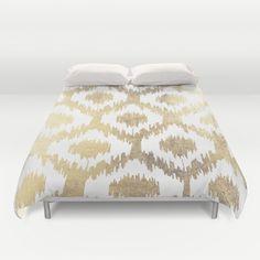 A modern white and gold faux leaf foil hand drawn ikat pattern.An elegant trendy gold foil design on white background.<br/> <br/> <br/> <br/> modern, white, handrawn, ikat...