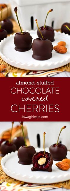Almond-Stuffed Chocolate Covered Cherries is a simple, 3 ingredient, gluten-free dessert recipe that's ready in minutes!   iowagirleats.com