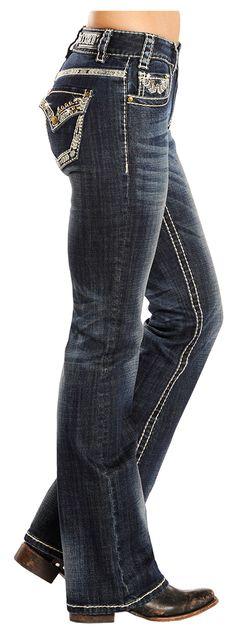 Rock N Roll Cowgirl Ivory Stitch Jean W1-2456