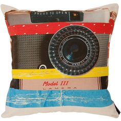 Ella Doran Camera Play Cushion - 40x40cm ($82) ❤ liked on Polyvore featuring home, home decor, throw pillows, pillows, fillers, furniture, misc, multi, linen throw pillows and contemporary throw pillows