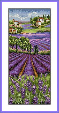Violet Field cross stitch pattern