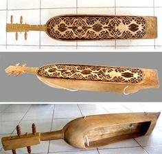 Sapek, traditional musical instrument of Dayak people in Kalimantan, Indonesia. Its moving sound always reminds me of birthplace island Wooden Musical Instruments, All Music Instruments, Folk Music, Borneo, Sound Of Music, Music Class, Indonesian Art, Instrumental, Rivers