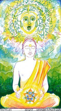 Sacred India Tarot Knight of Disks - Buddha Kartimukha