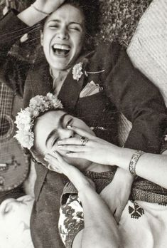 """lulufrost: """"VINTAGE PHOTO FRIDAY """"Nothing is worth more than laughter. It is strength to laugh and to abandon oneself, to be light."""" SOURCE : FRIDA KAHLO & CHAVELA VARGAS c.1945 """" I love Frida Kahlo, such strong woman"""