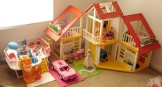 A really great Barbie Dream house-- my parents bought me every piece of furniture for this house. It was awesome!!!