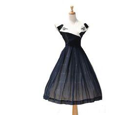 vintage sheer blue dress with lapels