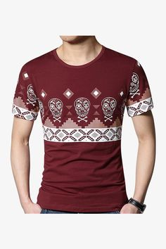 Slim Fit Skulls And Ornament Printed T-Shirt In Burgundy