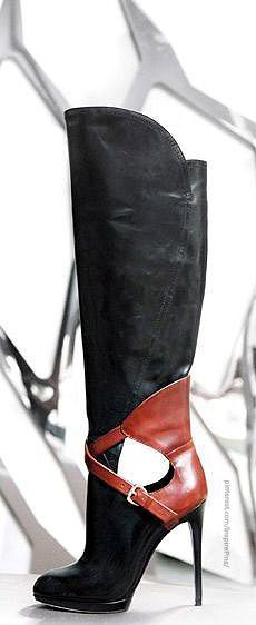 Brian Atwood - leather two-tone (black + cognac) high heel boots with cut-off.
