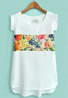 could add a fabric panel to a regular shirt for this effect  White Flower Print Short Sleeve Chiffon Blouse