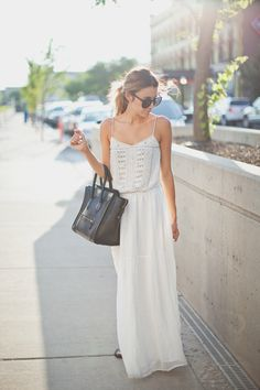 White maxi dress ~ follow me at ❇Kim Wouters❇ for more pins like this :)