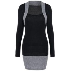 Color Block Ribbed Trim Fitted Dress