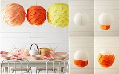Beautiful DIY paper lanterns. Easily turn any old paper lantern into a modern or creative home centerpiece! Also a great idea for outdoor weddings!
