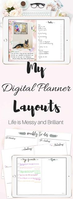 Need ideas to decorate your digital planner in GoodNotes? My digital planner spreads are going to inspire you to create colorful designs in GoodNotes. I hope you find my collection of digital planner layouts interesting. Digital Bullet Journal, Bullet Journal Printables, Bullet Journal Layout, Bullet Journal Inspiration, Bullet Journals, Planner Template, Printable Planner, Planner Stickers, Bujo