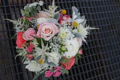 Bridal Bouquet, Roses, Dahlias, Astilbe, Spray Roses, Yellow Billy Balls