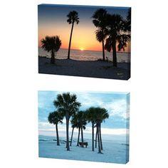Menaul Fine Art Beach and Sunset Trees Limited Edition Canvas Set - Scott J. Menaul