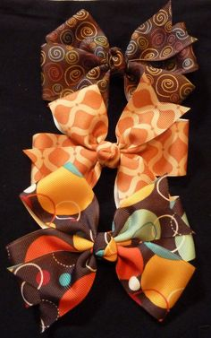 """CLEARANCE Fall set of 3-- 4.5"""" Hair Bow for Babies and Girls on Etsy, $6.50"""