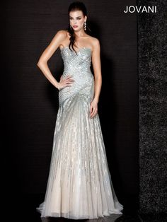 Beaded Strapless Gown, Style 11004